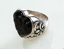 King Queen Baby Sterling Silver Carved Jet Heart Ring Size 7 K20-5690