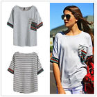 Womens Fashion Crew Neck Loose Tops Long Sleeve T Shirt Striped Blouse Tees