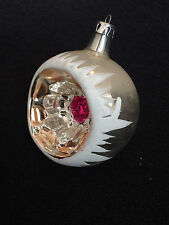 Vintage Hand Blown Glass Christmas Ornaments INDENT REFLECTOR  MICA RED DOT