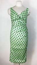 Voodoo Vixen Green Polka Dot Dress Retro Vintage Style Wiggle Pink Up Rockabilly