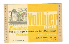 1950s Germany Karl Marx Stadt Vollbier Beer label Tavern Trove