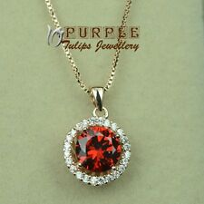 18CT Rose Gold Plated Fashion Round Cut Ruby Necklace W/ Swarovski Crystals
