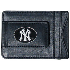 New York Yankees Fine Leather Money Clip Wallet [NEW] NY MLB Black Billfold Mens