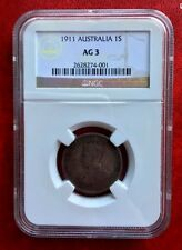 1911 Australia Coin One Shilling Silver NGC AG3