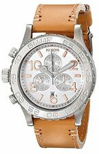 NEW Nixon A4241603 Women's 42-20 Chronograph Brown Leather SS Left-Handed Watch