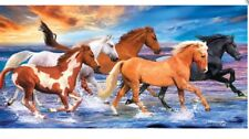 "Horses Running In The Surf 30""x60"" Beach Towel"