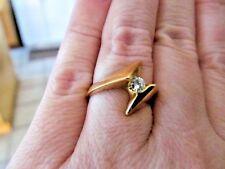 Vintage Custom Made Heavy 14K Yellow Gold Bypass Ring with Round .18ct Diamond