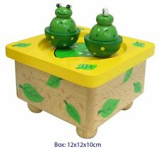 NEW IN BOX Fun Factory - Wooden Music Box Dancing Magnetic Frogs
