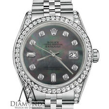 Woman's Rolex 26mm Datejust Black Mother Of Pearl 8+2 Diamonds Stainless Steel