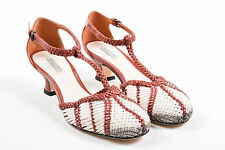 "Bottega Veneta NIB $940 Red Pink Leather Woven ""Stoia"" Low Pump SZ 35.5"