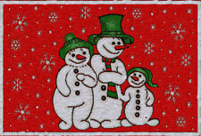CHRISTMAS WINTER SNOWMAN FAMILY CHENILLE PLACEMATS X 2 XMAS DAY TABLE DECORATION