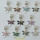 1 or 4 x Silver Plated Rhinestone Dragonfly Dangle Bead Charms on Bail or Clips