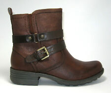 New $110 Earth Origins Paula size 9 Almond Brown Leather Belted Low Boots