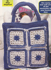 Crochet Pattern ~ GRANNY SQUARES Tote Bag ~ Instructions