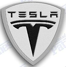 TESLA   AUTO CAR IRON ON EMBROIDERed PATCHES  3 INCH PATCH ELECTRIC SPORTS