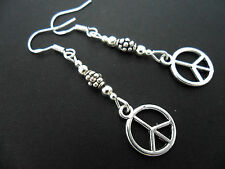 A PAIR OF TIBETAN SILVER PEACE SIGN EARRINGS WITH 925 SOLID SILVER HOOKS. NEW..