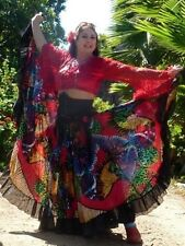 Gypsy costume, 3pieces,skirt, 29 yards, head piece, red top, M, tiers, sequins