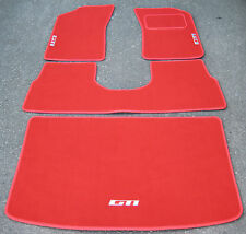 "Luxury Red Car Mats to fit Peugeot 205 + White ""GTI"" Logos + Boot Mat & Saddle"