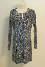 Diane von Furstenberg Reina Tiny Marks Black tunic dress 6 white dot New DVF