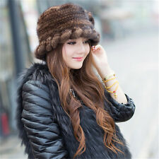 100% Genuine Women Knitted Mink Fur Hat Cap Headgear Tuque Beanie Furry Coffee