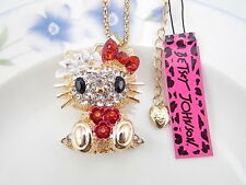 Betsey Johnson fashion jewelry Crystal cute cat pendant necklace # A075B