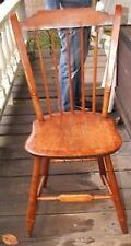 ANTIQUE 1870s Pine Side Chair with Step Down Back Rail  & Saddle Seat L@@K