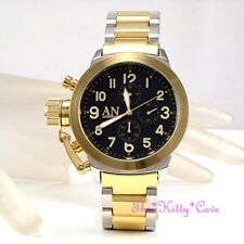 Chunky Oversized Silver Gold Brush Steel Designer Sports Chronograph Style Watch