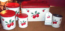 RARE 1950'S DECOWARE METAL 9 PIECE APPLE CANISTER SET BREAD BOX TOOTHPICK HOLDER