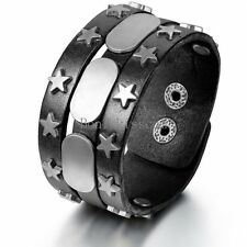 Wide Black Leather Silver Stars Buckle Cuff Bracelet Wrap Wristband for Men