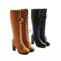 Womens High Heel Block Knee High Boot Lace Up Punk Round Toe Shoes Plus Size 10