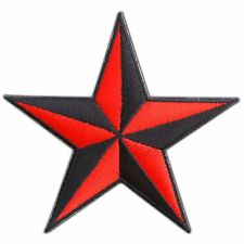 Red Nautical Star Symbol US Navy Disco Superstar Biker Tattoo Iron-On Patch 0691