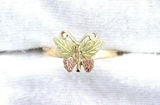 10Kt Two Tone REAL Yellow Gold Black Hills Gold Type Butterfly Leaf Ring Sz 6.75