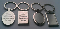 Personalised Silver Oval Rectangle Car Shaped Keyring Engraved Gift Key Ring