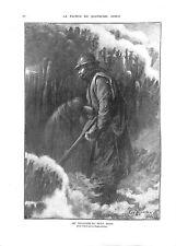 WWI Poilus Soldats Veilleurs du Petit Poste d'Eugène Zigliara 1917  ILLUSTRATION