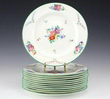 12pc Set Wedgwood Cowell & Hubbard Co. Dinner Plates. Hand painted floral, green