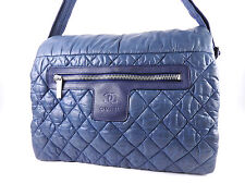 Authentic CHANEL Coco Cocoon Messenger Shoulder Bag Nylon Blue A48617 A-4599