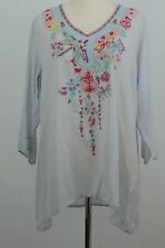 New Johnny Was Casual Embroidered Blouse Size L