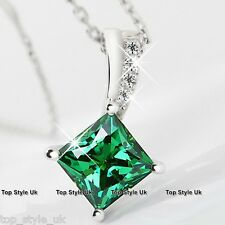 925 Sterling Silver Emerald Green Crystal Pendant Necklace Gift for girlfriend