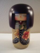 1994 JAPANESE Asian CHERRY BLOSSOM Hand Painted KOKESHI Wooden GIRL DOLL Signed