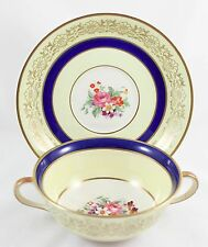 6+ SETS CREAM SOUP BOWLS & SAUC JOHNSON BROS JB114 CHINA COBALT BLUE GOLD FLORAL
