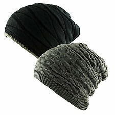 2 in 1 REVERSIBLE Ribbed Waffle Knit Slouch Beanie Ski Knitted Cap