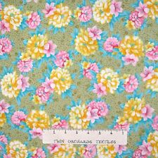 Calico Fabric - Melody Yellow & Pink Flowers on Green - Kings Road YARD