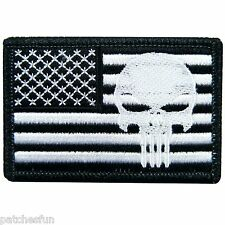 US Flag Skull Motorcycle Biker Rock Sniper Army Navy Seal Punisher Iron on Patch