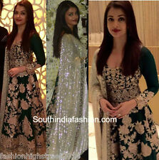 INDIAN/ Pakistani Designer Bollywood Aishwarya Rai Emerald Gown, Suit, Anarkali
