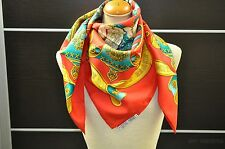 "Authentic HERMES Scarf Silk ""EUROPE "" Red 25304"