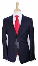 NWT New * Z ZEGNA * 2016 Navy Blue/Black Striped Slim Fit 2-Btn Wool Suit 36R
