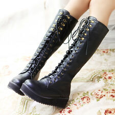Punk New Style Womens Lace Up Knee High Platform Gothic Military Riding Boots Sz