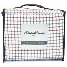 Eddie Bauer Home Red White & Blue Plaid Cotton Flannel Queen Sheet Set ~ New