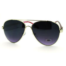 Womens Classic Aviator Sunglasses Silver Frame with Pink Leopard Prints
