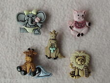 DRESS IT UP BUTTONS ~ CUTE & CUDDLY ~ 5 ADORABLE BABY ANIMALS ~ LION ~ ELEPHANT+